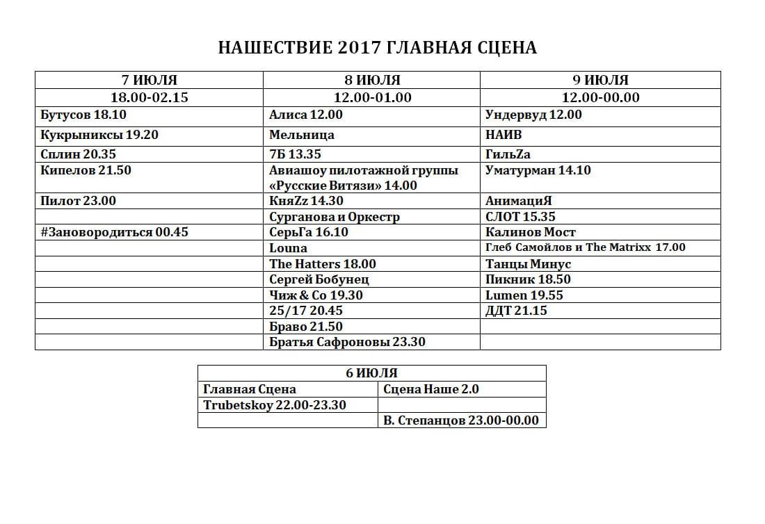 """Программа выступлений по дням и часам фестиваля """"Нашествие-2017"""""""